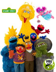 Sesame Street on PBS Kids,Big Bird, Elmo, Oscar the Grouch,Bert,Ernie,Cookie Monster, Abby Cadabby