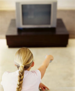 Girl watching television
